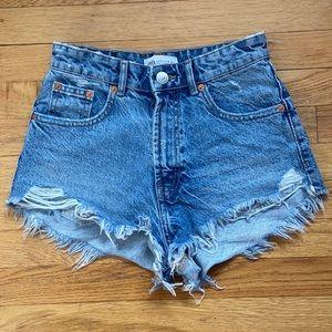 Zara High Rise Denim Shorts (WORN ONCE)